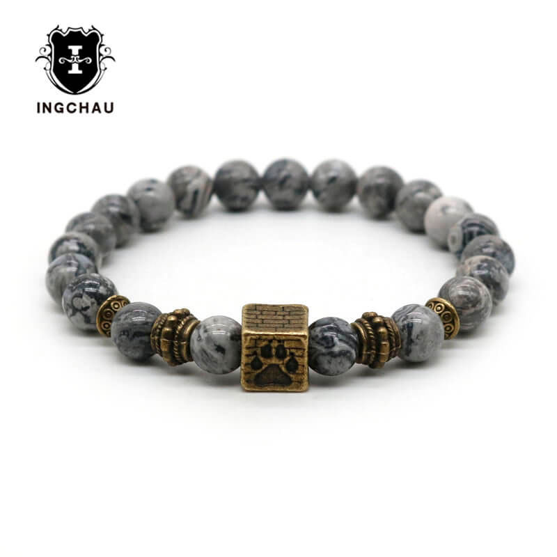 2018 Vintage Bronze Plated Dog Paw Bracelet Men Natural Lava Rock Pitbull Bracelets For  ...
