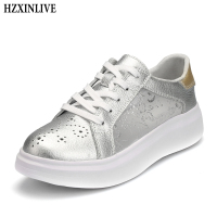 HZXINLIVE 2018 Women Vulcanized Shoes Sneakers Ladies Lace Up Silk Basket Shoes Breathable Walking Genuine Leather Casual Flats