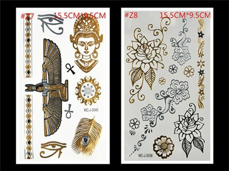 Free Shopping Sex Products Temporary Tattoo For Man And Women Waterproof Stickers makeup make up Flash Gold Tattoo 13