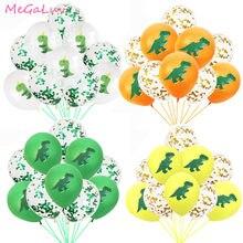 Balões de látex de dinossauro, balões de confete de dinossauro para festa de aniversário, festa, decoração de festa, balões de animais da selva com 10 peças