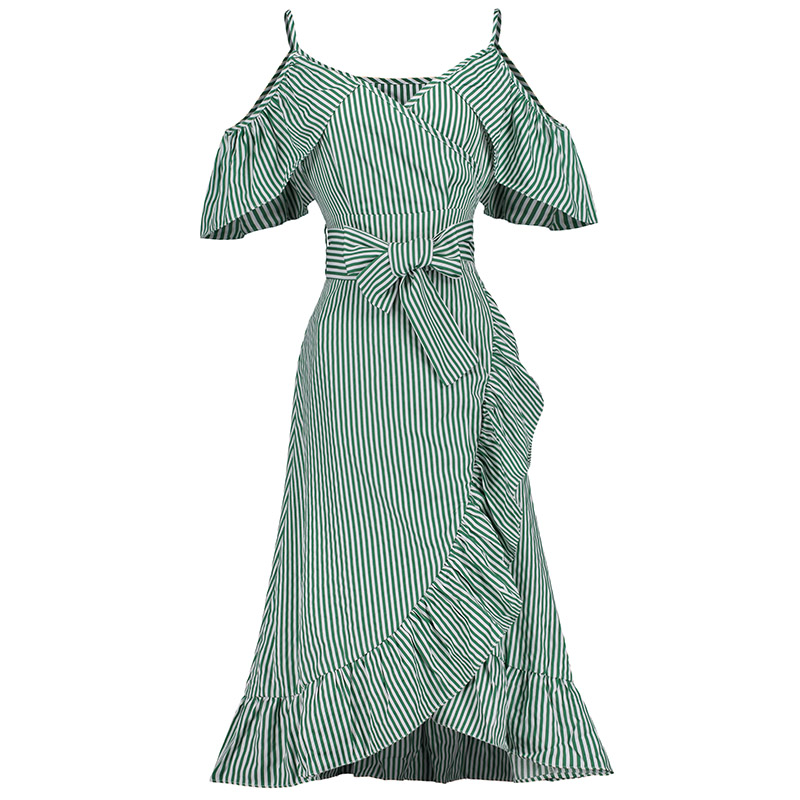 Summer Women Ruffle Dress Spaghetti Strap Cold Shoulder Green Dress Lady Causal Sweet V Neck Bowknot Stripe Irregular Dress