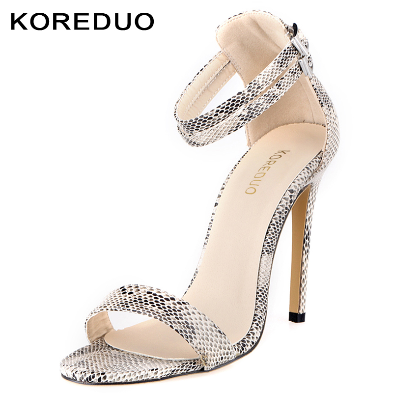 KOREDUO 2018 Ankle Strap Sandals Women Shoes Fashion Snake skin Thin High Heel Women Sandals White Summer Shoes Party Sandals mw weiqiaona european 2018 women new fashion show leather snake skin rhinestone flowers high heel sandalss sexy ladies party shoes
