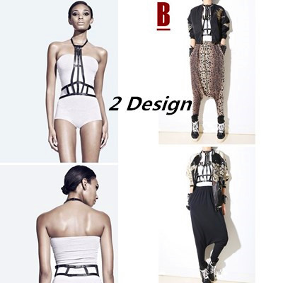 High Street Fashion Adjustable Leather Body Harness, Studded Cutout Night Out Decorative Bondage Straps On Upper Body In Black