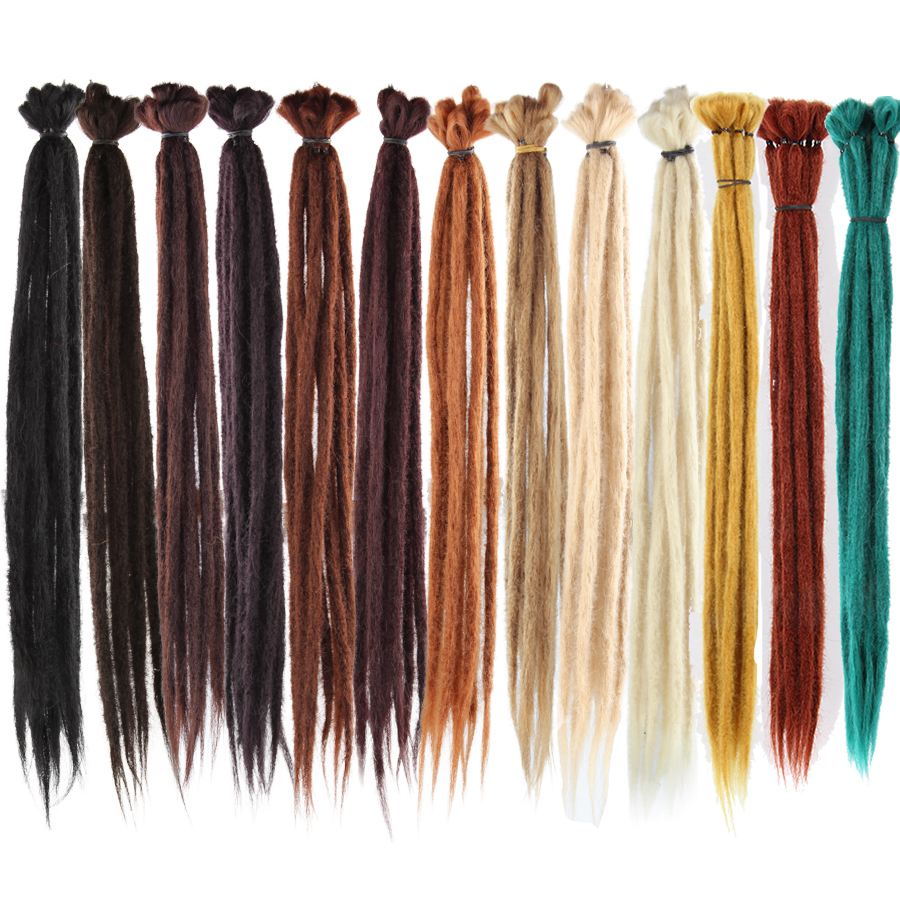 Alileader 1 Strands Crochet Braiding Handmade Dreadlocks Hair Extension 7G Pure 52 Colors Braiding Hair Synthetic Natural Hair