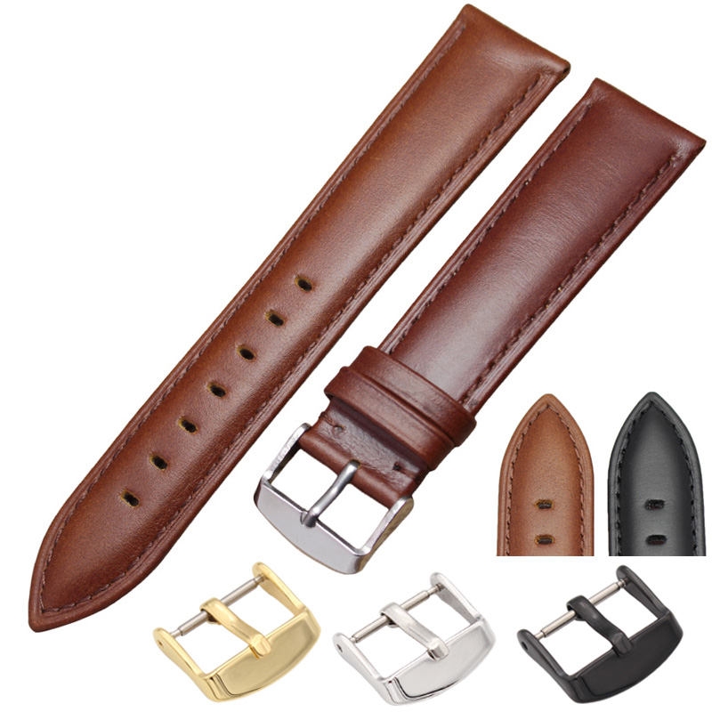 Black Brown Watchbands 18mm 19mm 20mm 21mm 22mm 24mm High Quality Smooth Watch Band Strap With Pin Buckle Watches Accessories 18 19 20 21 22mm 24mm watchbands belt men women black brown high quality genuine leather watch band strap deployment clasp