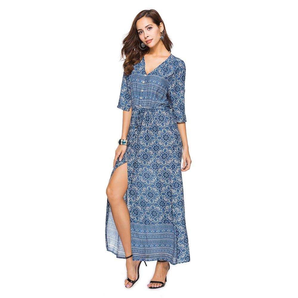 2018 Summer Boho Shirt Dress Women Beach Maxi Dress Long Xxxl Plus