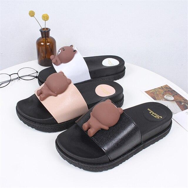 67f81e6a52f Mini Helisha Cute Bear Pattern Women Thick Sole Shoes PVC Air Blowing PCU  Slippers. Price
