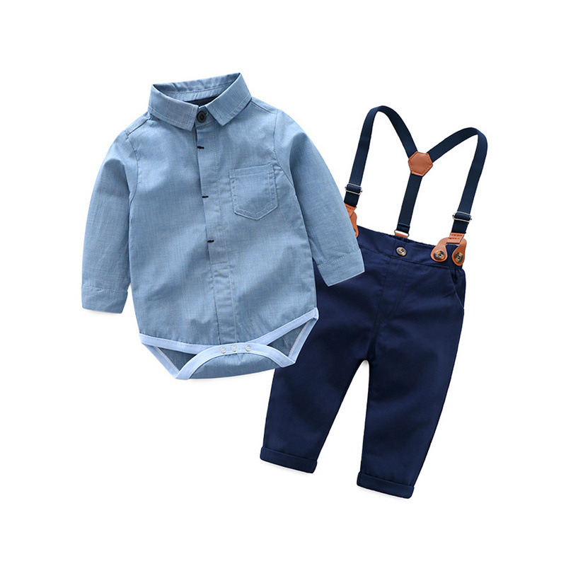 0-3T newborn clothes set for boys baby clothing suit blue cotton overalls + Navy pants with belt handsome boys suit first gift calvin klein baby boys gray polo with blue pants