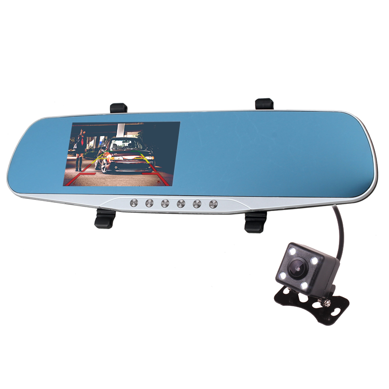 Двойная камера Full HD 1080p Автомобильный dvr черный ящик зеркало заднего вида с реверсом заднего вида парковочная камера детектор движения G Дат...