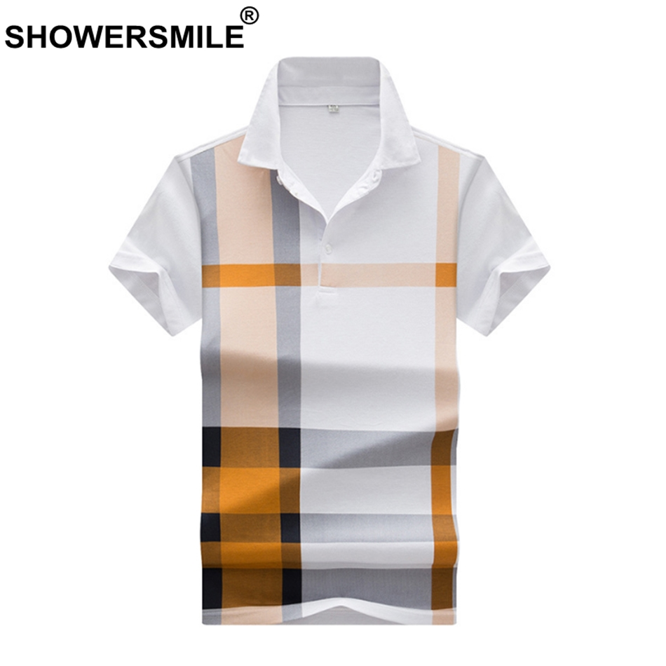 SHOWERSMILE Plaid   Polo   Shirt Men Summer Plus Size 3xl Tees Yellow Cotton Blends Check Casual Business Colorblock Male Clothing