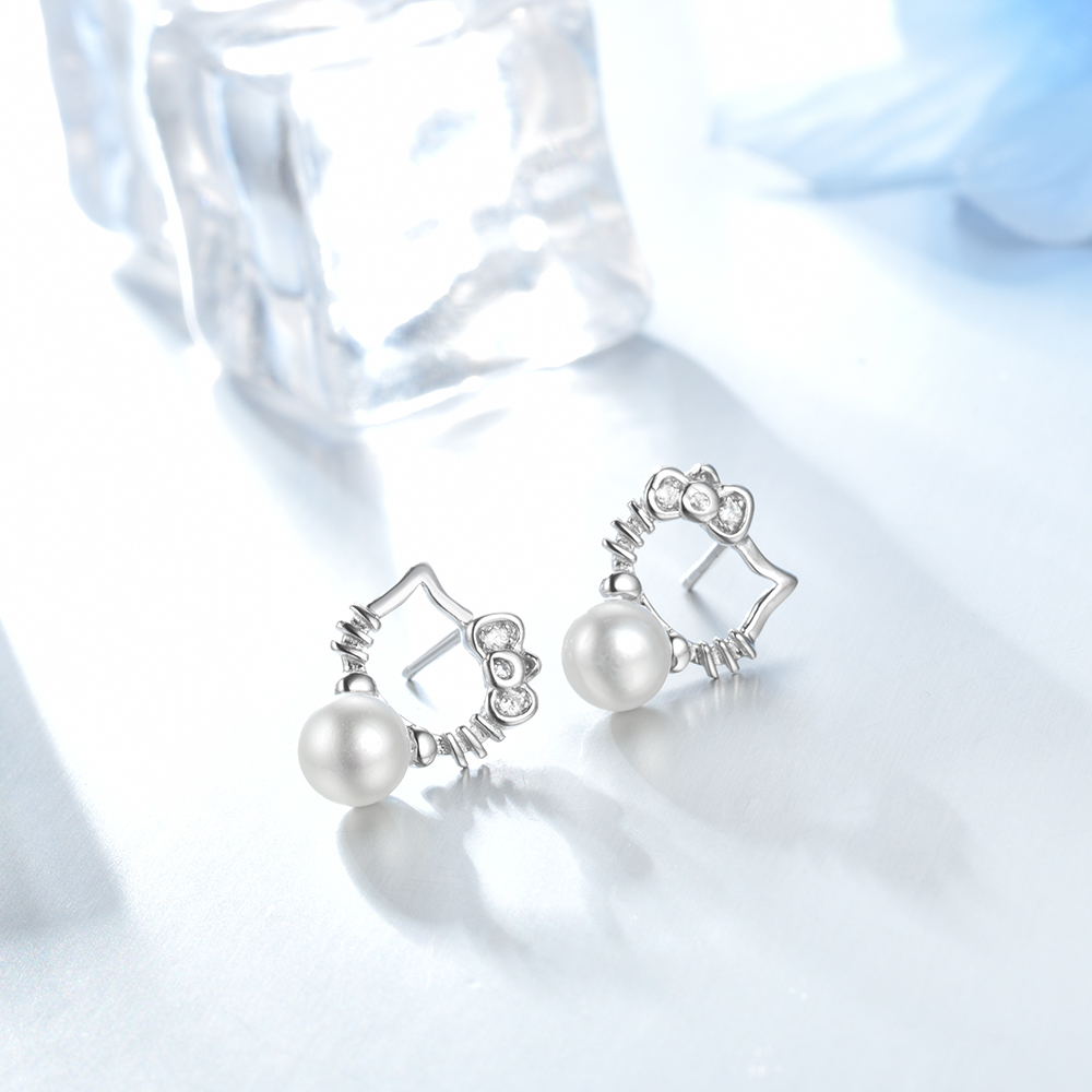 Sterling Silver Pearl Cute Kitty Cat Stud Earrings