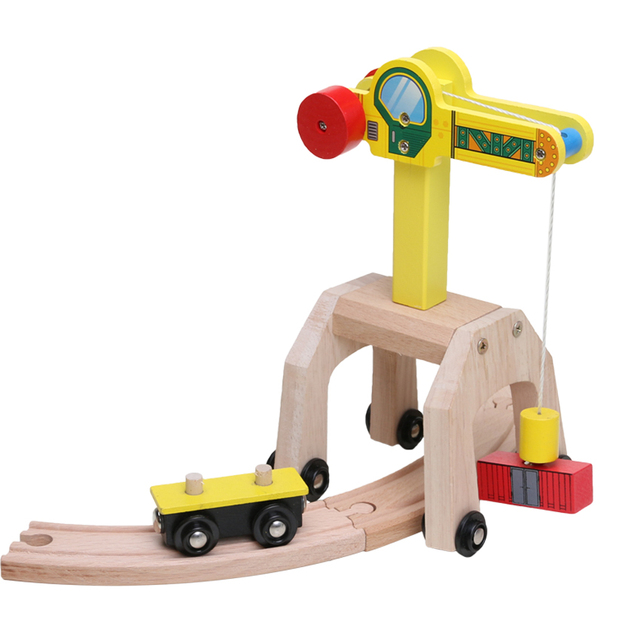 Wooden Train Track Set Accessories On Working Crane Truck & Curved Tracks Without the train Train Track Pieces Blocks Toys