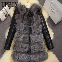 2017 New High Quality High Imitation Silver Fox Fur Coat PU Sleeves Warm Winter Coat Fox Coat Big Yards Overcoat(China)