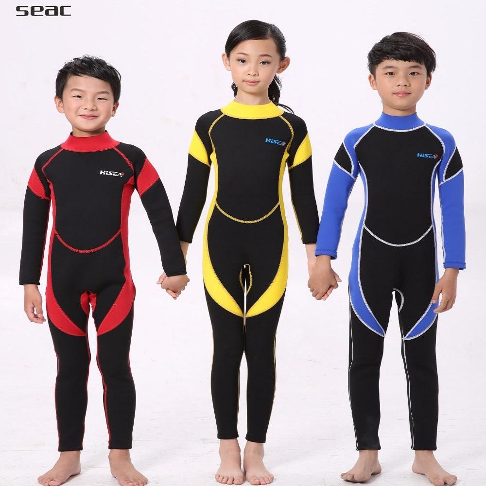 2.5MM Warm Neoprene Wetsuits Kids Swimwears Diving Suits Long Sleeves wetsuit Boys Girls ...