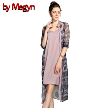 by Megyn 2017 Women Elegant Long Shirt Dress Half Sleeve O-Neck Embroidery Dress Ladies Blouse Summer Casual Tops Blusas 7A56
