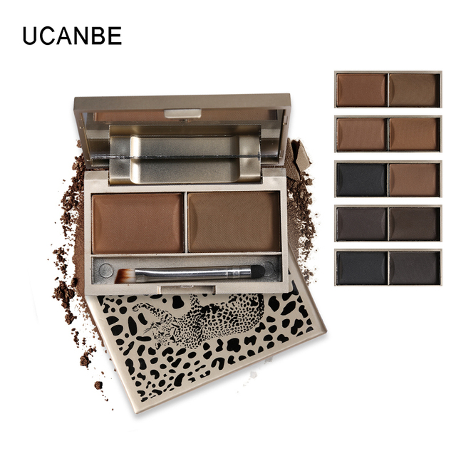 Brand 2 Color Eyebrow Powder Makeup Palette Waterproof Natural Brown Eye Brow Enhancers Shadow Cosmetic Kit with Brush Mirror 1