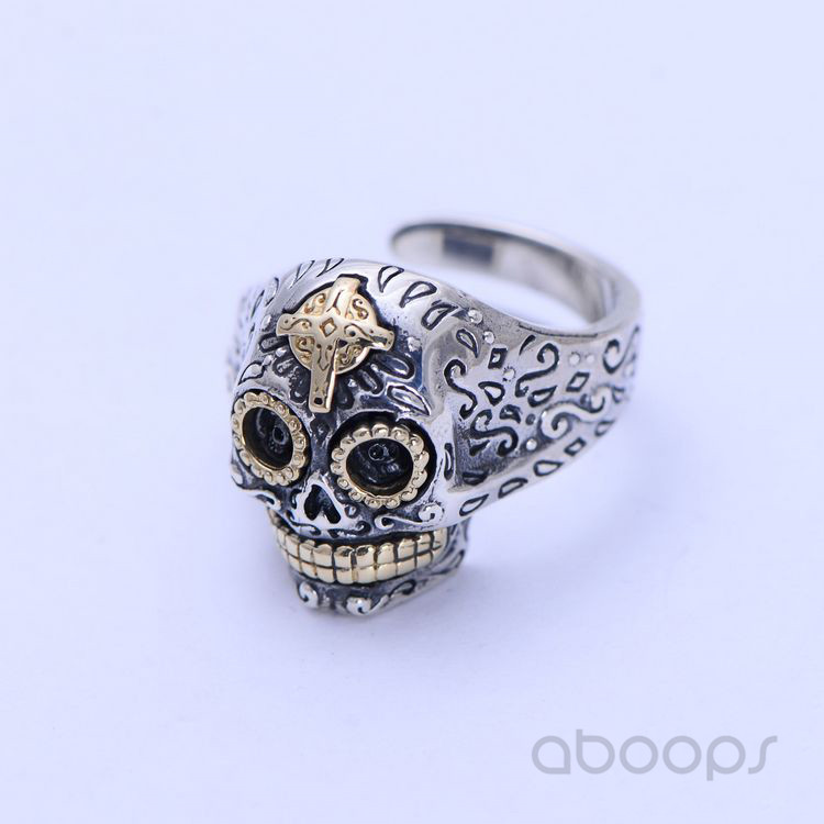 Mens Gothic Two Tone 925 Sterling Silver Punk Biker Skull Ring Jewelry with Gold Cross Adjustable in Rings from Jewelry Accessories