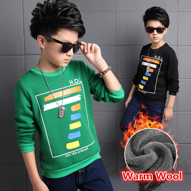 Warm Wool Cotton Letter 7 Print Boy t Shirt Kids Baby Undershirt With Long Sleeve Children Autumn School Shirts For Boys Clothes