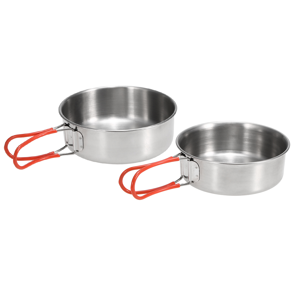 2Pcs Stainless Steel Bowls for Outdoor Camping Kitchen Dinner Plates Outdoor Tableware for Camping Hiking Backpacking Kitchen