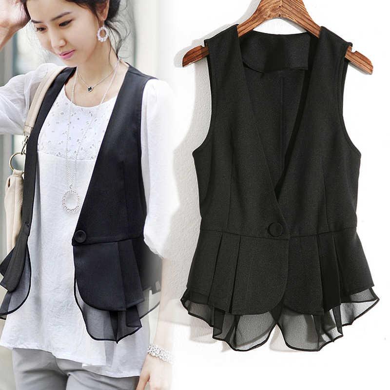519d4241d Spring Autumn Girl Short Design Black V neck Suit Vest Women's Thin ...