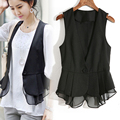Spring  Autumn Girl Short Design Black V-neck Suit Vest Women's Thin Chiffon Waistcoat Office Lady Basic Chiffon Weskit M-4XL