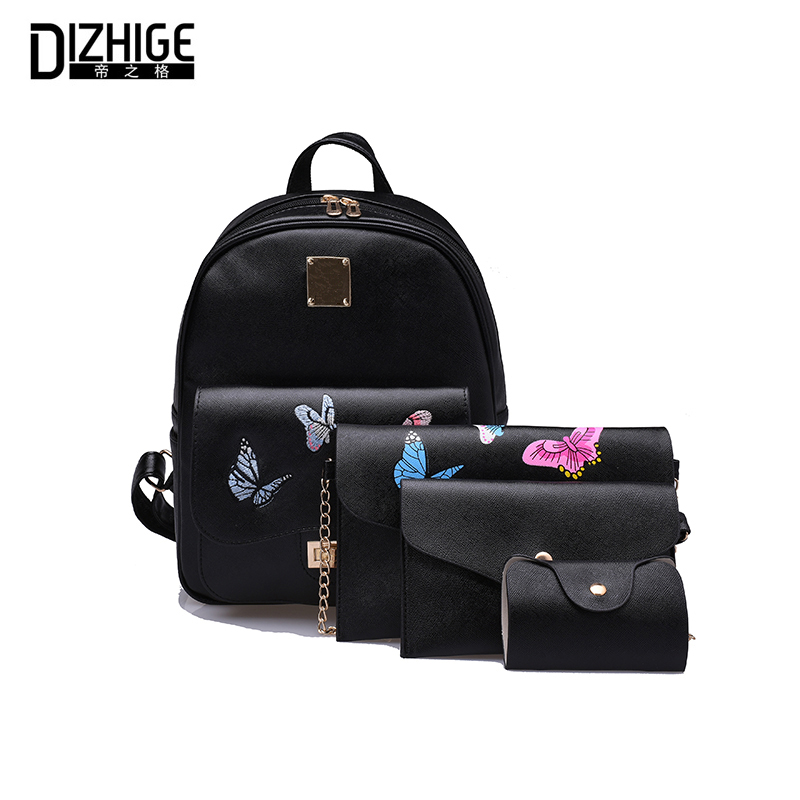 DIZHIGE Brand Embroidery Butterfly Backpack Women 2017 New 4 Pcs/Set Women Backpack High Quality School Bags For Teenagers Girls dizhige brand women backpack high quality pu leather school bags for teenagers girls backpacks women 2018 new female back pack