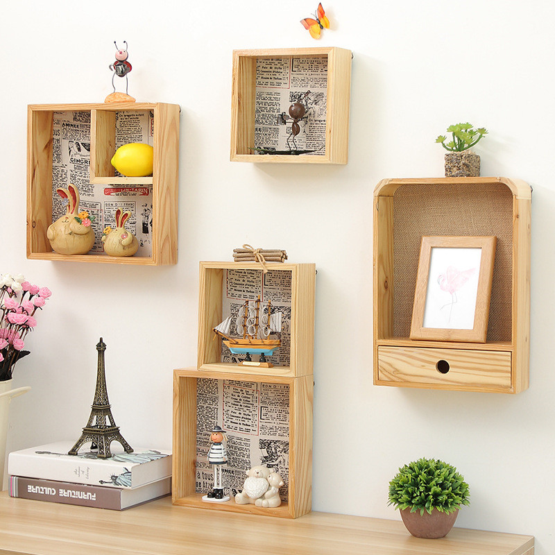 Creative Wooden Multi Function Wall Shelf Square Wood Cabinet For Living Room Bedroom Wall Decor Storage Rack Shop Ornament