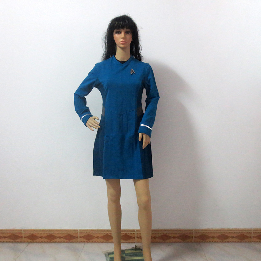 Star Trek Beyond Nyota Uhura Cosplay Costume Blue Dress Halloween Costume Customize Any Size