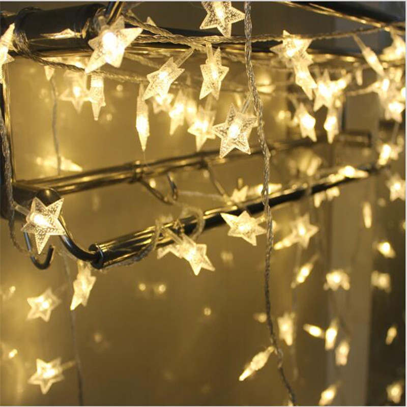 Us 11 38 15 Off 10m 80 Led Copper Wire Star Curtain String Lights Lamp Fairy Lighting For Outdoor Wedding Christmas Decoration In From