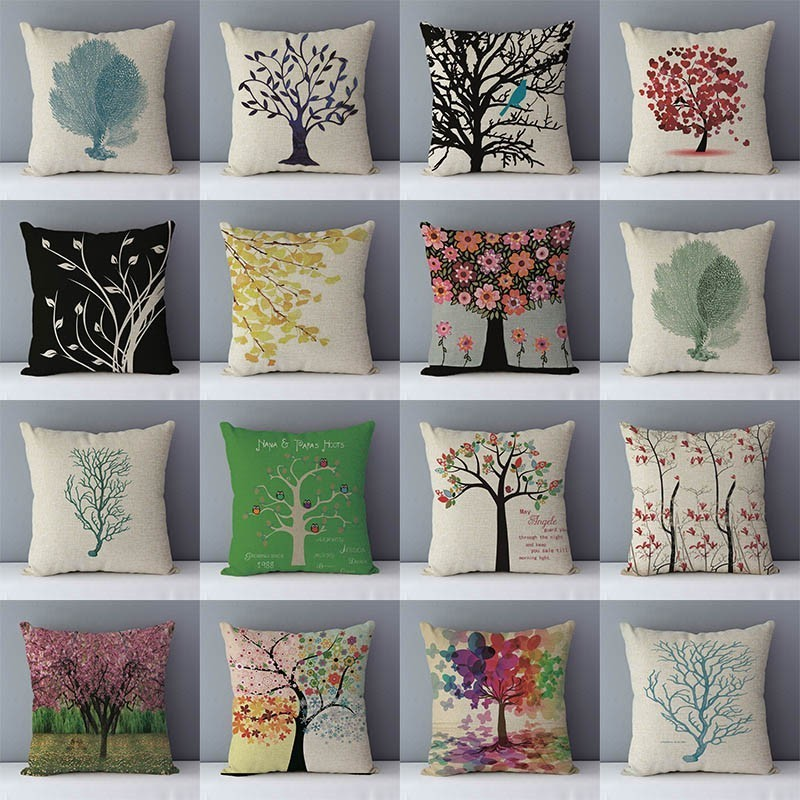 Wholesale Cheap Price Colorful Plants Life Trees Printed Cushion For Couch Seat Back Cushions Home Decorative Pillows 45x45cm QX