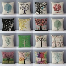 Printed Cushion Pillows Couch-Seat Plants Cozy Colorful Home-Decorative 45x45cm-Qx