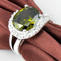 Promotion Jewelry Luckyshine Unique Fire Oval Created Peridot  Silver Plated Wedding Rings Russia USA Holiday Australia Rings