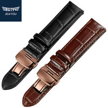 JEAYOU Genuine Leather Men Watchband Strap With Rose Gold Buckle For Tissot/Mido/Casio/Seiko 20mm 22mm