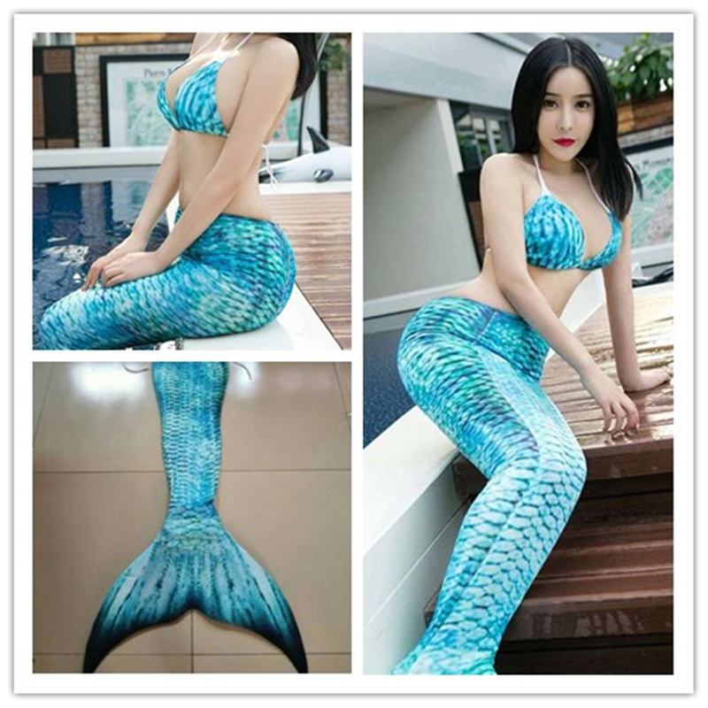3pcs/Set 2019 Adult Mermaid Tail With Monofin For Women Ariel Costume Swimming Swimmable Mermaid Tail Cosplay Halloween Costumes