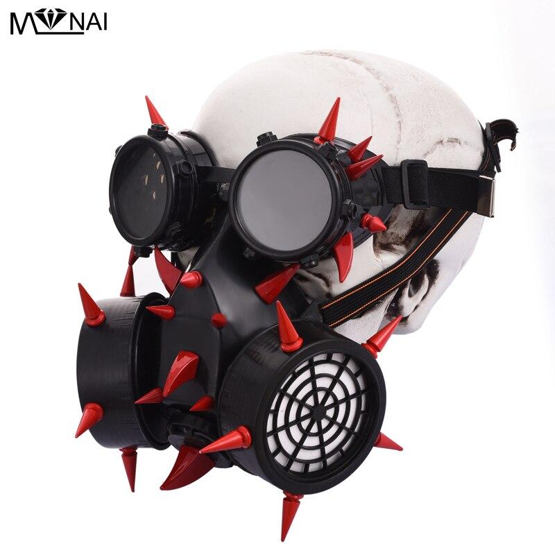 Steampunk brûlant homme pic masque Costume rouge Rivets lunettes rétro Vintage Cosplay lunettes masques accessoires Goth