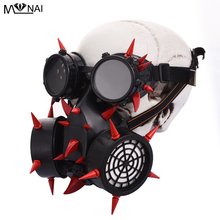 Steampunk Burning Man Spike Mask Costume Red Rivets Goggles Retro Vintage Cosplay Glasses Masks Accessories Goth