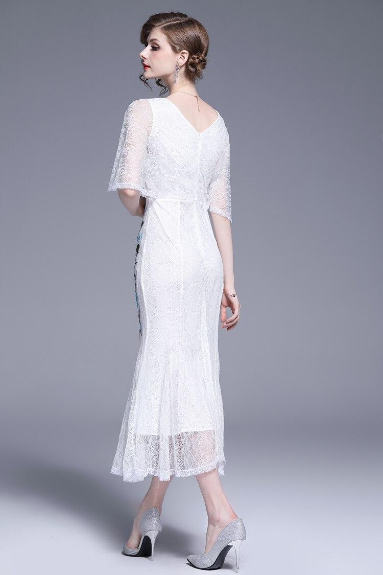 V-Neck Floral Embroidered Lace Dress 18