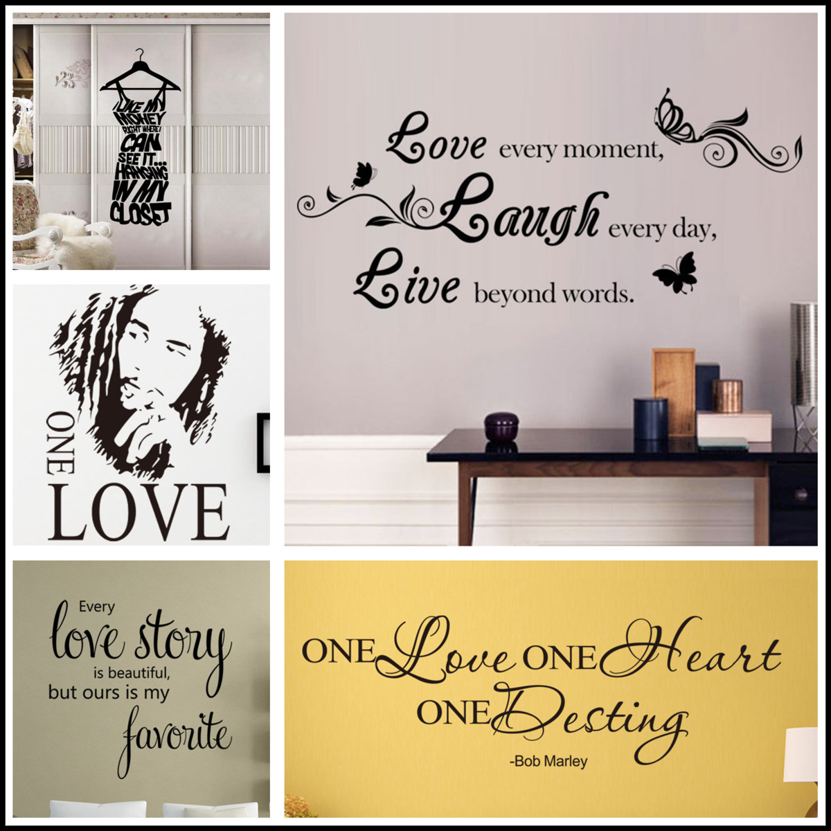 Engels Zin Liefde Lachen Live Sofa Muur Decals Woondecoratie