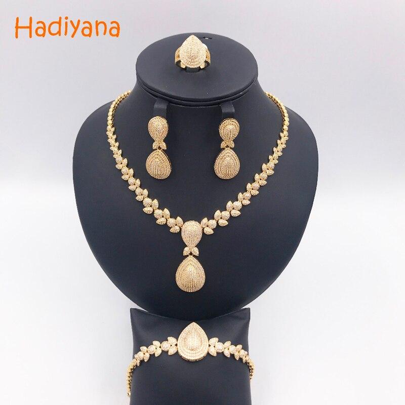Hadiyana de lujo brillante circón cúbico 4 piezas conjunto de joyas para las mujeres Venta caliente collar y pulsera y pendientes conjuntos de joyas CN289 - 5