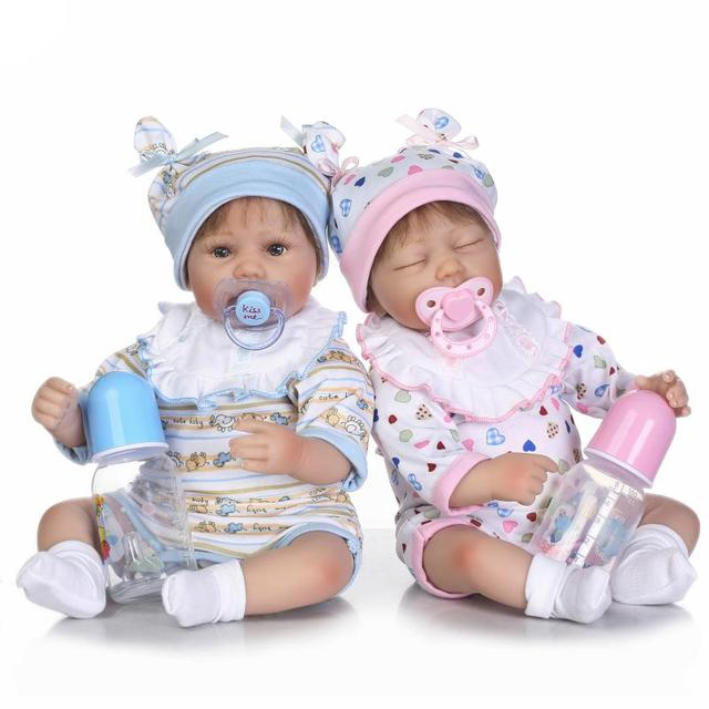 Pursue 16 40 cm handmade realistic silicone reborn dolls twins newborn baby doll for