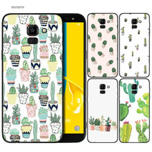 Silicone Case For Samsung Galaxy J4 J6 A6 A8 Plus A7 A9 J8 2018 A5 2017 Soft Cover Shell Cactus Heart(China)