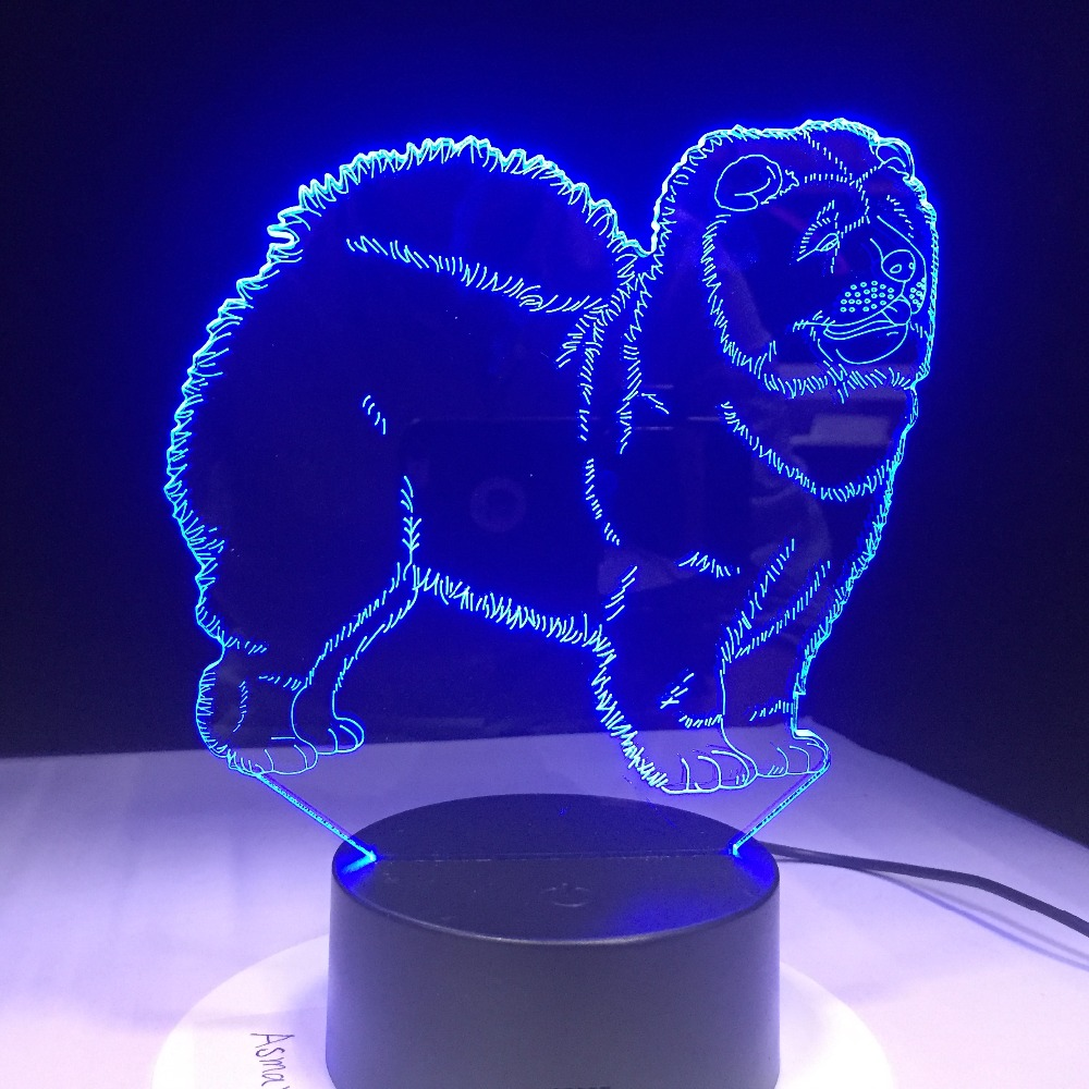Chow Chow Dog 3D Lamp Night Light Kid Toy LED 3D Touch Table Lamp 7 Colors Flashing LED Light Christmas Decorations For Home