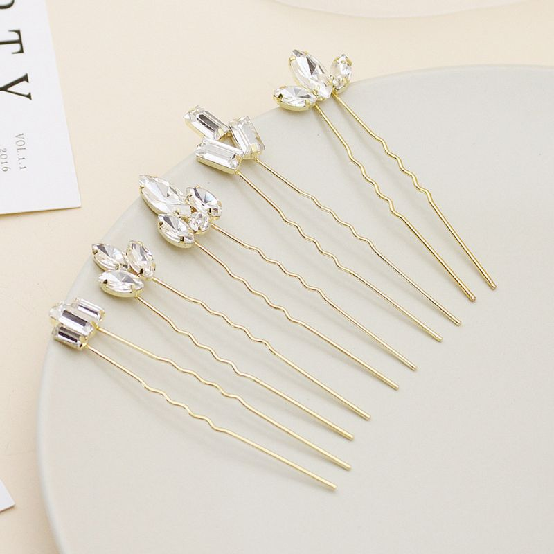 5pcs Fashion Bridal Handmade Crystal Hair Clips Hairpin Barrette Headbands European Hair Sticks Wedding Accessories in Hair Jewelry from Jewelry Accessories