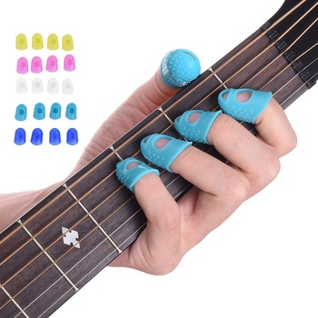12 ədəd nazik orta selüloid gitara baş barmağı seçən barmaq qapağı elastik ukulele barmaq şapkasını basmaq üçün barmaqları qoruyur