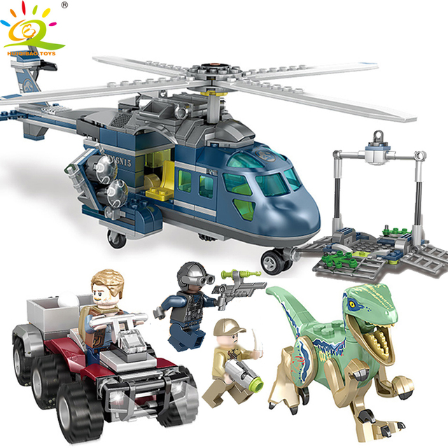 HUIQIBAO TOYS 433PCS Velociraptor Blue Dinosaur Building Blocks For Kid Compatible legoingly Jurassic City World park Helicopter