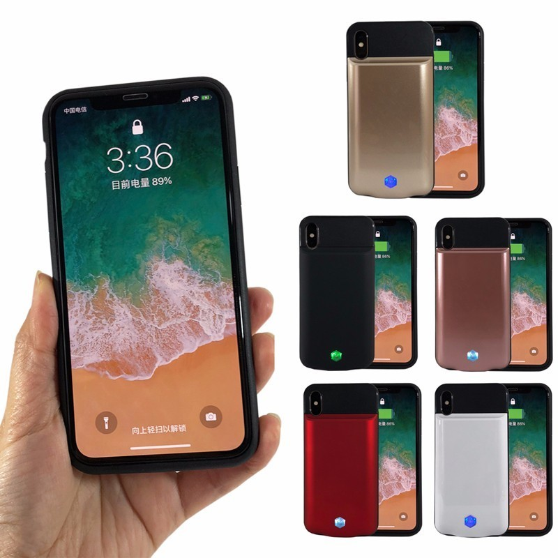 5000mAh Power Phone Case for iPhone X Portable Charger Charging Phone Case Backup External Battery Power Bank Red Golden Black