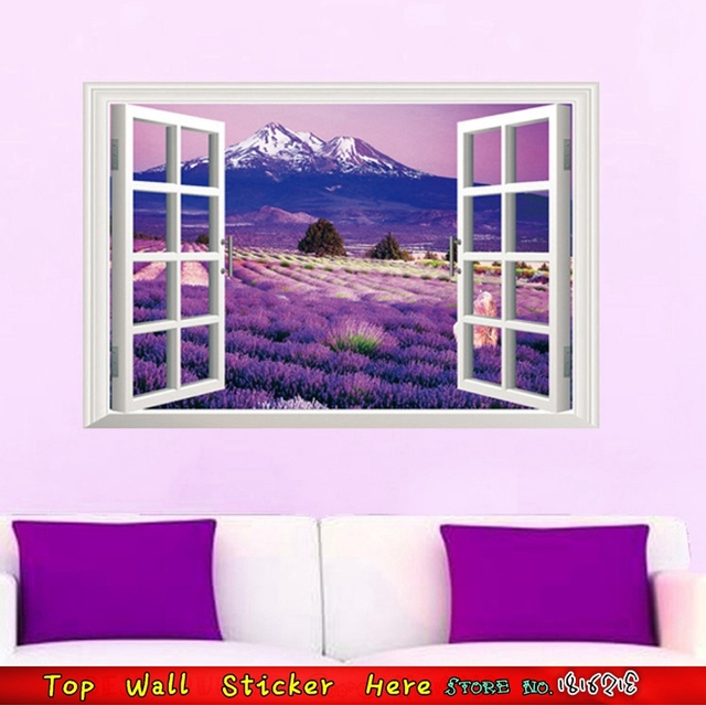 Ice Mountain Lavender 3D Window Scenery View Wall Stickers For Living Room Decoration Sticker