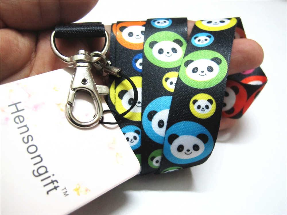 Hensongift дети аниме Panda лица узор ключ бейдж со шнурком футляры для идентификационных карт панды головной телефон шейные платки