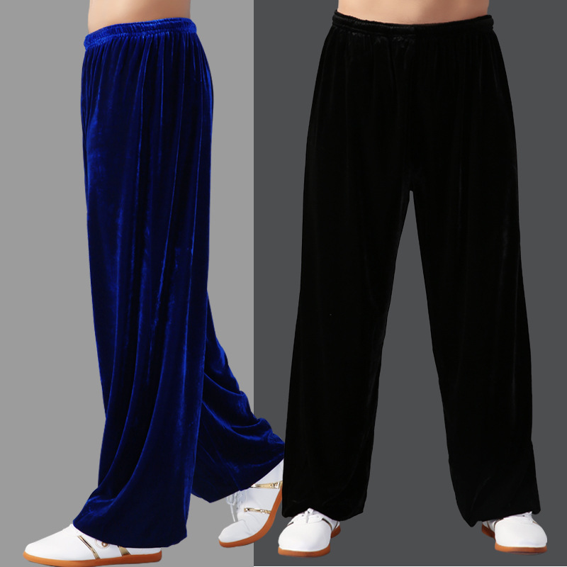 Tai Chi Pants Autumn Thickening Pleuche Martial Arts Pants Men And Women In The Spring And Autumn Period Acrobatics Pants