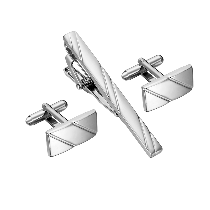 Simple Diagonal Stripe Bussiness Tie Clip Cufflinks For Mens Set Cufflinks High Quality Tie Pin Cufflinks Set Men Jewelry Gifts(China)